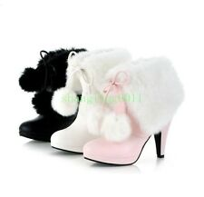 Womens High Heel PAM PAM Winter Lace Up Snow Warm Ankle Boots Shoes Plus Sz
