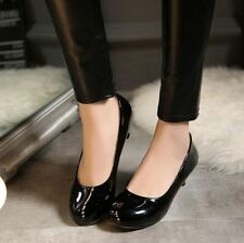 Womens Pumps Low Heel Kitten Round Toe Slip On Patent Leather OL dress Shoes sz