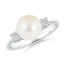 8 MM Solitaire Freshwater Cultured Pearl Ring with Cluster Diamonds Silver/ Gold