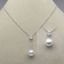 11-13mm AAA White Real South Sea Pearl Diamond Pendant Necklace 18K White Gold