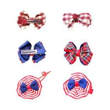 4pcs Cute Kids Girls Ribbon Bow Hair Clips Barrette Elastic Hair Band Hair Ties