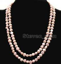 "Fashion Natural Light Pink 8-9mm Baroque freshwater pearl Long 40"" necklace-6277"