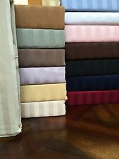 1200TC 100%Egyptian Cotton  3Pc Fitted Sheet Set US Full Size Striped Colors