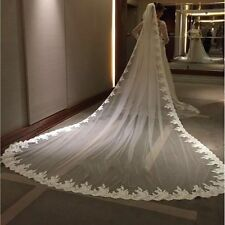 White Ivory Cathedral Length 3m50 Bride Wedding Veil 1T Lace Edges with comb