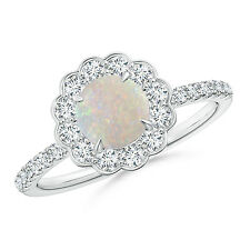 Vintage Style Opal Flower Ring with Diamond 14k White Gold / Platinum Size 3-13