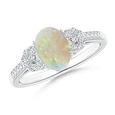 Solitaire Oval Opal Cathedral Ring with Diamond 14k White Gold/ Platinum Size 6