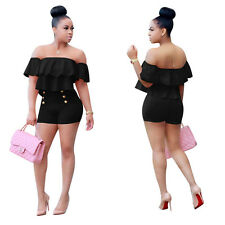 Sexy Wrap Off Shoulder Short Jumpsuits Womens Rompers Playsuit Party Cocktail