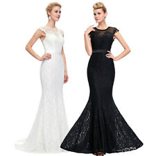 Long Lace Formal Bridesmaid Dresses Prom Evening Wedding Ball Gowns Party Dress