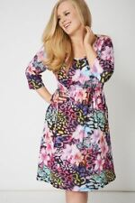 Floral Print Drawstring Waist Shift Tea Dress 3/4 Sleeves Scoop Neck Size 16-32