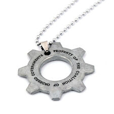Gears of War Cog Tag Chain Necklace Keychain Key Ring Pendant Cos Jewelry Gift