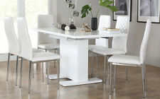 Osaka & Renzo Extending High Gloss Dining Room Table and 4 6 Chairs Set - White