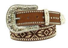 Blazin Roxx Western Womens Belt Leather Studded Rhinestone Ribbon Brown N3523602