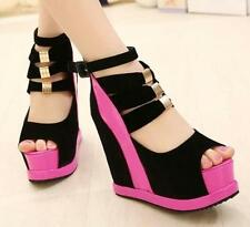 Womens peep toe Platform Wedge High heels Party sandals Ankle strap Buckle Shoes