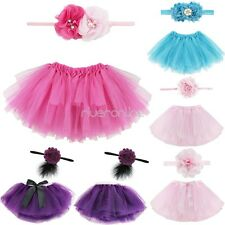 Sweet Newborn Baby Girl Tutu Skirt Flower Headband Photo Prop Costume Outfit Set
