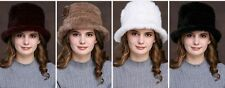 "Fashion Lady""s Real Mink fur hand-knit Bowler hats black brown white wine red"