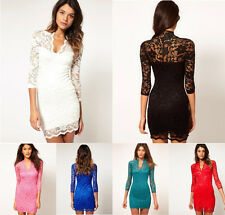 Fashion Women Sexy V-neck Lace Slim Lady Cocktail Clubbing Party Mini Dress
