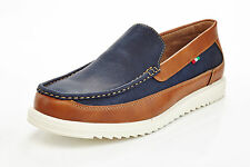 mens slip on casual boat shoes loafers spring summer blue & brown comfort