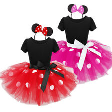 Baby Girl Kid Mouse Polka Dots Tutu Skirt+Headband Birthday Party Dress1-10Y