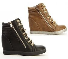 Womens Black Brown Wedges Heels Lace Up High Top Trainers Gold Chain Ankle Boots