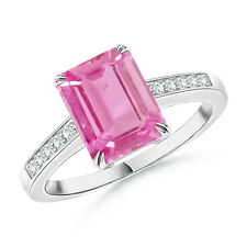 Emerald Cut Pink Sapphire Cocktail Ring with Diamond Accent 14K White Gold
