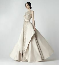 NWT Designer Sleeveless Beige Embroidered and Sequin Detail Ball Gown