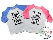Twin Boy/Girl Second Birthday Raglan Shirts Two Cool/Two Cute Toddler Twins 2nd