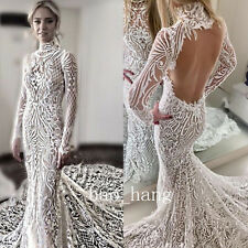 Lace Mermaid Wedding Dress 2016 2017 Long Sleeve Open Back Bridal Gown High Neck