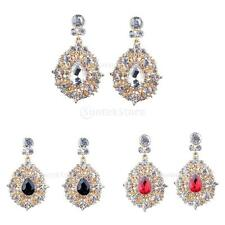 Luxury Sparkle Rhinestone Crystal Water Drop Shape Dangle Earrings Fancy Jewelry