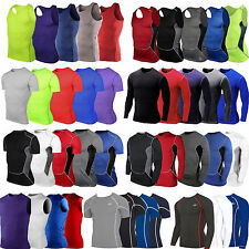 Mens Compression Under Armour Base Layer Top Tight Runing Sports T-Shirts Shirts