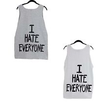 3 Colors Cotton Round Neck Loose Sleeveless 4 Yards Letters Printed Low Collar