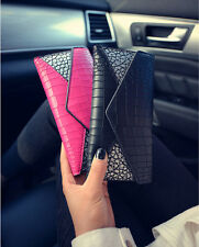 Fashion Lady Women Leather Clutch Coin Phone Bag Long Purse Wallet Card Holder V