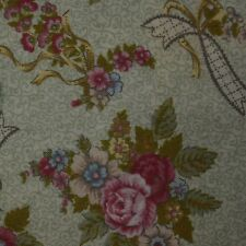 Quilt Fabric Cotton Calico Quilting FQ Green Floral: Primrose Lane by Northcott