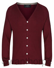 MENS BOSIDENG LONDON RED KNIT LONG SLEEVE RIB RAGLAN CARDIGAN JUMPER - 52002