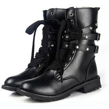 Womens Martin Biker Boots Leather Lace Up Ankle Mid Calf Combat Military Shoes