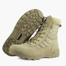 Men Suede Leather Boots Side Zip Combat Work Outdoor Tactical Desert Shoes Khaki