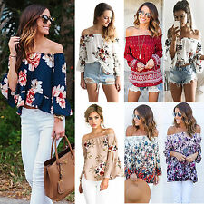 Boho Womens Off Shoulder Floral Lace Casual Shirt Tee Bluson Blouse Peasant Tops