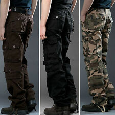 Mens Cargo Camo Trousers Military Army Tactical Combat Work Casual Long Pants