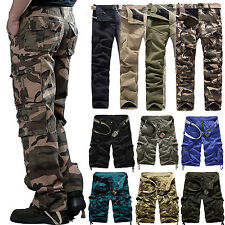 Men's Combat Cargo Army Pants Military Camouflage Casual Cotton Trousers Shorts