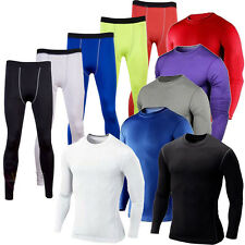 Mens Sports Compression Base Layer Under Shirts Top Long Pants Leggings Athletic