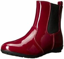 Wanted Shoes Bumble Winter Boot Red Patent Water Resistant  Ankle Bootie