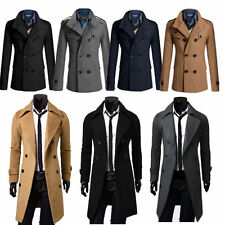 Men Gent Slim Fit Double Breasted Overcoat Wool Trench Coat Jacket Parka Outwear