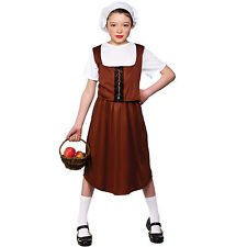 Girls Tudor Peasant Girl Costume Child Role Play Party Halloween Fancy Dress Up