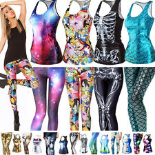Womens 3D Printed Gothic Punk Vest Tank Top Stretch Skinny Leggings Tight Pants