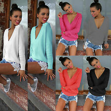 Women's Long Sleeve V Neck Loose Knitted Sweater Shirt Ladies Casual Jumper Tops