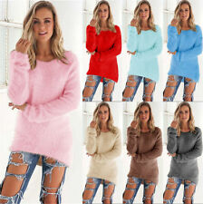 Womens Long Sleeve Sweater Jumper Top Casual Loose Winter Fleece Pullover Blouse