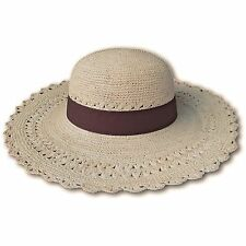 HANDWOVEN LADIES WOMANS PANAMA HAT 100% TOQUILLA STRAW ECUADOR FOLDABLE ROLLABLE
