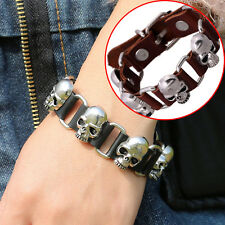 Unisex Cool Personality Charm Diy Knit Punk Skull Leather Men Bracelet