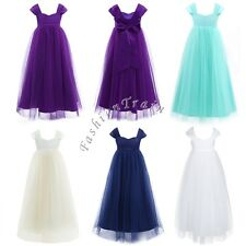 Flower Girl Cap Kid Sleeve Big Bow Wedding Party Prom Gown Tulle Dress Size 1-14