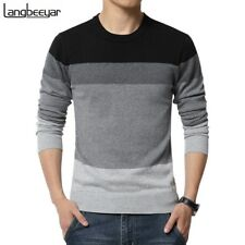 Plus size M-5XL Spring Fashion Casual Sweater Striped Slim Fit Knit Pullover Men