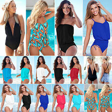 WOMEN ONE PIECE MONOKINI BODYSUIT BIKINI SWIMSUIT BEACH SWIMWEAR PLUS SIZE S-3XL